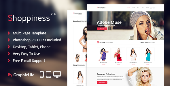 Shoppiness eCommerce Muse Template