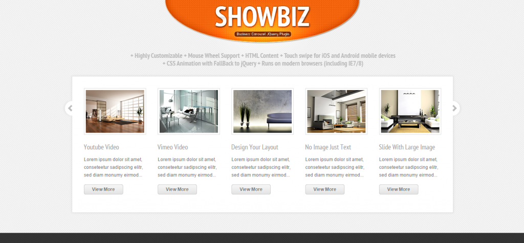 Showbiz Business Carousel jQuery Plugin