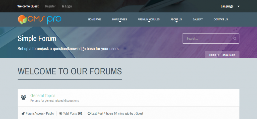 Simple Forum Module for CMS pro