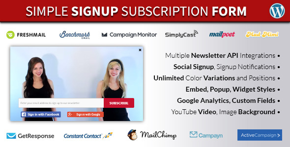 Simple Signup WordPress Email Subscription Form