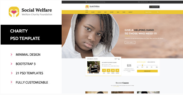 Social Welfare Charity & Non-Profit PSD Template