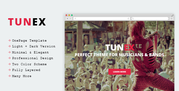 TUNEX Music & Entertainment PSD Template