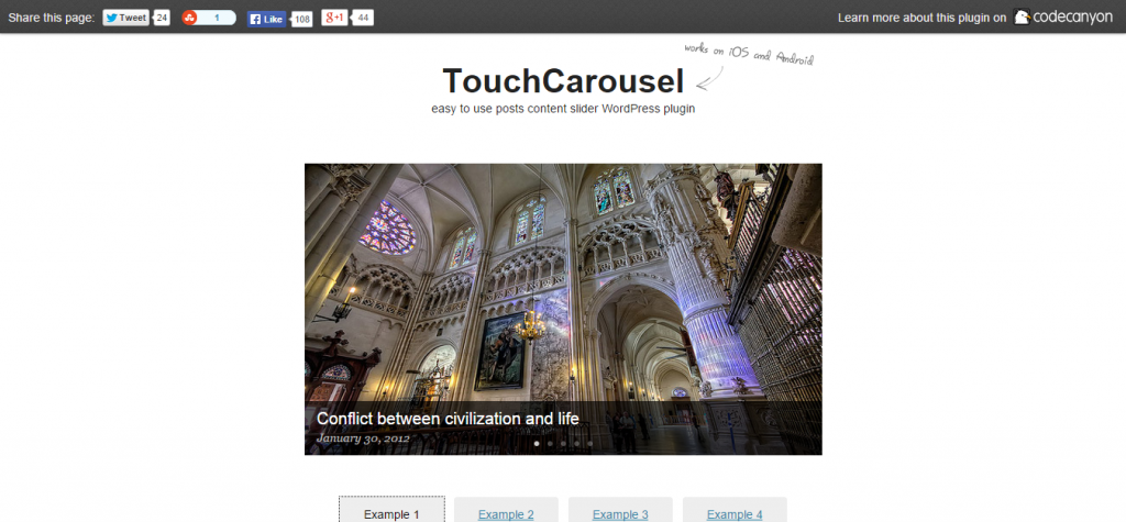 TouchCarousel Posts Content Slider for WordPress