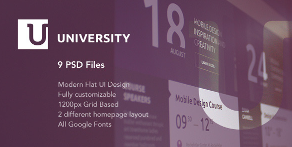 University Education Flat UI PSD Template