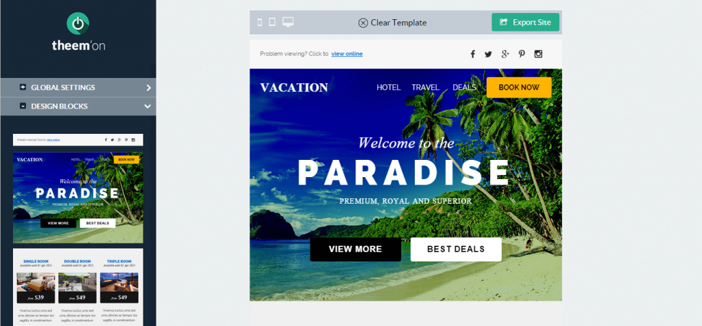 Vacation Hotel Travel Email + Builder Access