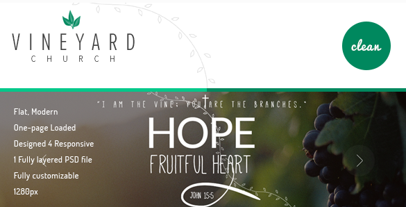 Vineyard Church One Page Church PSD Template