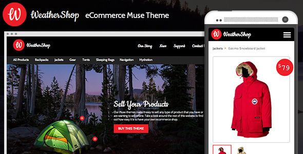 Weather Shop eCommerce Adobe Muse Theme