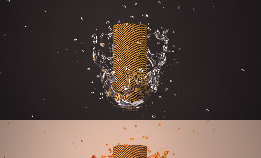 3D Splash Model + Vray RenderSetup and 4 Materials