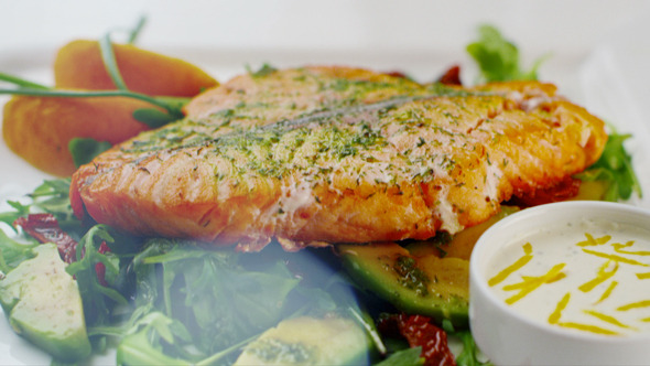 Baked Salmon On A Plate