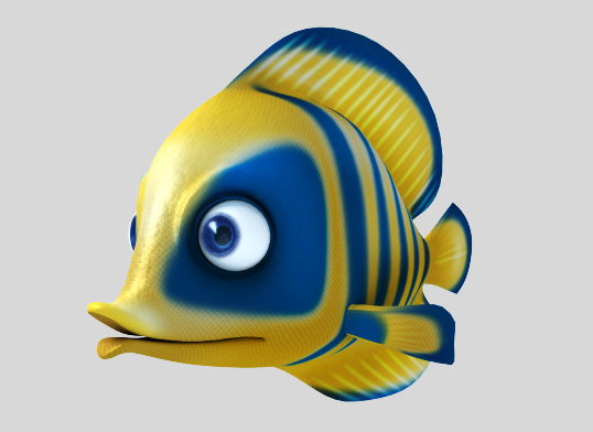 Blue fish base on mesh