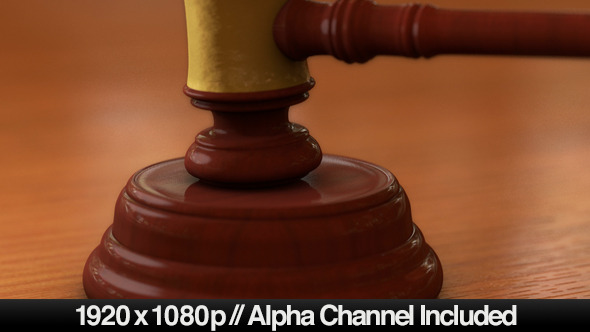 Courtrooms Wooden Gavel Ruling with Alpha Channel