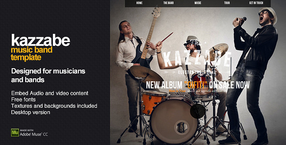 Kazzabe One Page Music Band Template