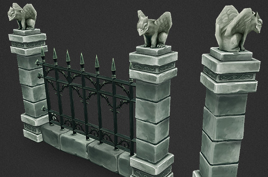 Low Poly Cemetery Fence