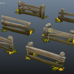 Low Poly Farm Fence Set