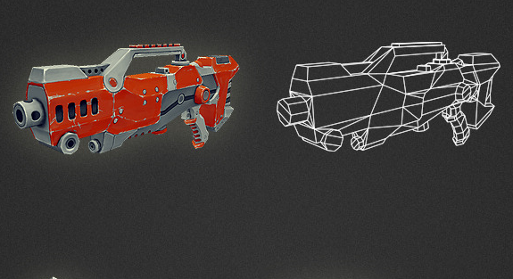 Low Poly Gun 04