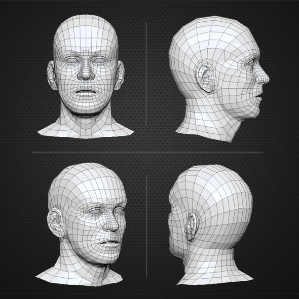 Low Poly Human Head Base Mesh