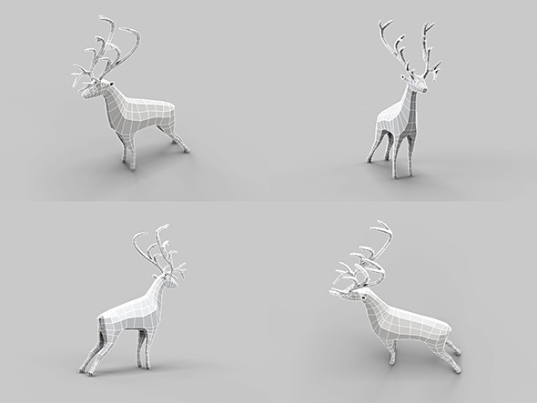 Low Poly Mesh Old Deer