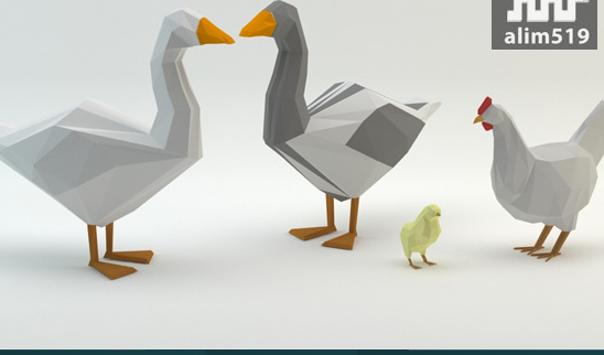 Low Poly Set Duck Chicken Poult