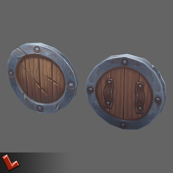 Low poly hand painted shield [Militia 01]