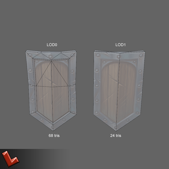 Low poly hand painted shield [Militia 03]