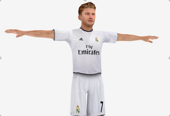 Low poly, rigged, Real Madrid soccer player
