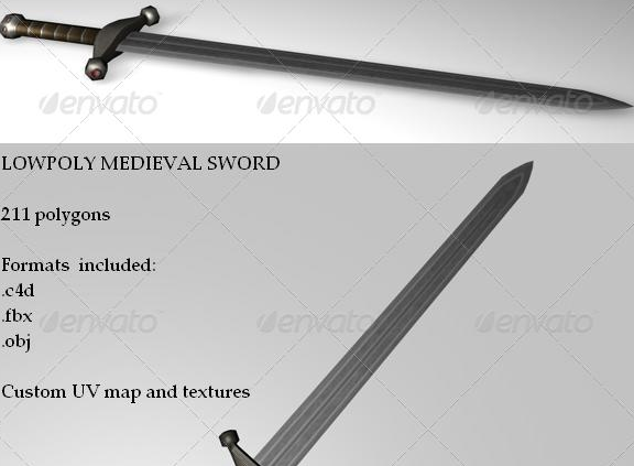 Medieval Sword Low poly model for Cinema 4D