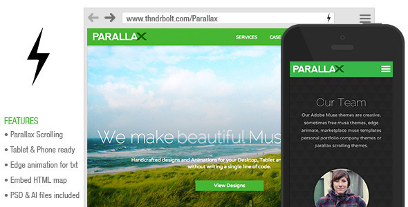 Parallax Scrolling Muse Theme