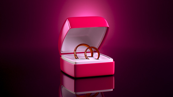 Realistic Gift Box with Two Rings
