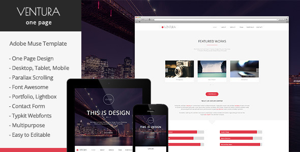 Ventura Parallax One Page Muse Template