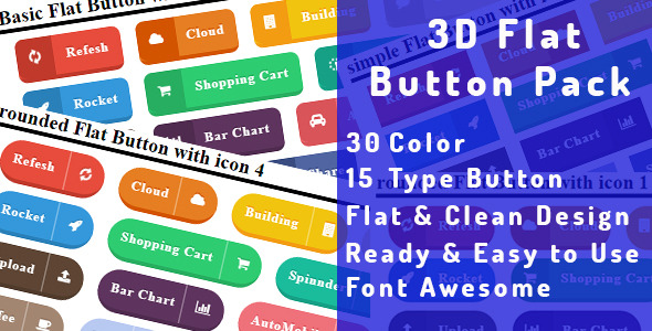3D Flat Button Pack