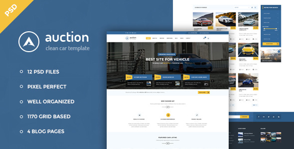 Auction Car Dealer & Mechanic PSD Template