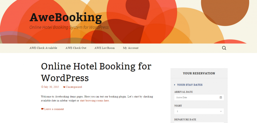 AweBooking Online Hotel Booking for WordPress