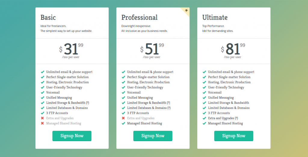 Bootstrap Minimal Pricing Tables
