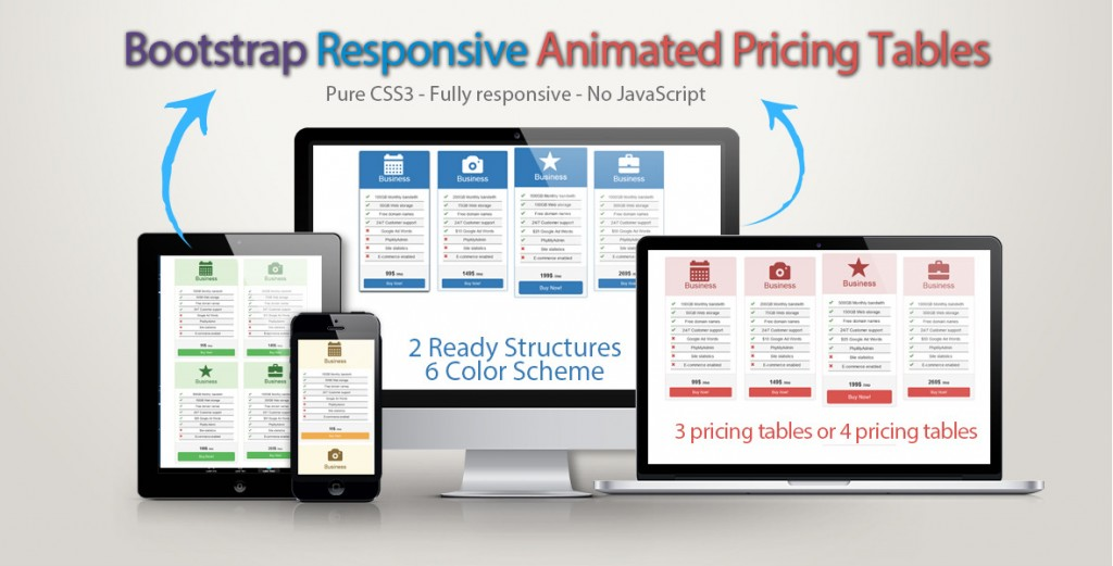 Bootstrap Responsive Animated Pricing Tables