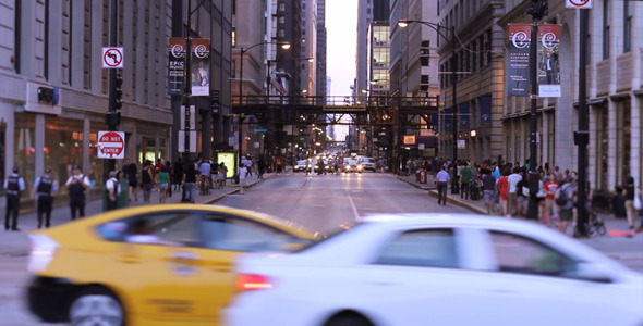 Busy Street In Downtown City Of Chicago