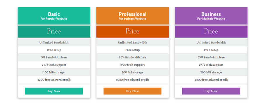 CSS3 Flat Responsive Pricing Table