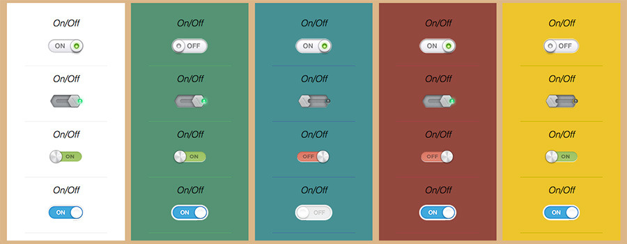 CSS3 On Off Switch Buttons Effect
