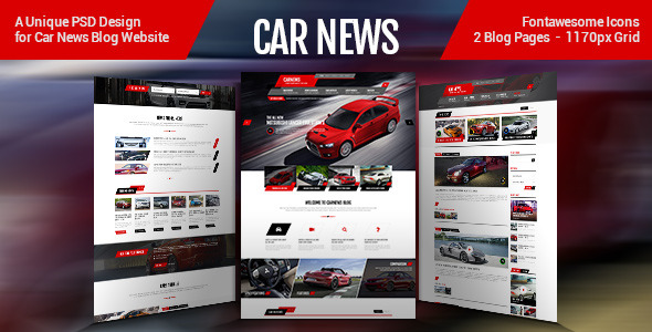 Car News PSD Template