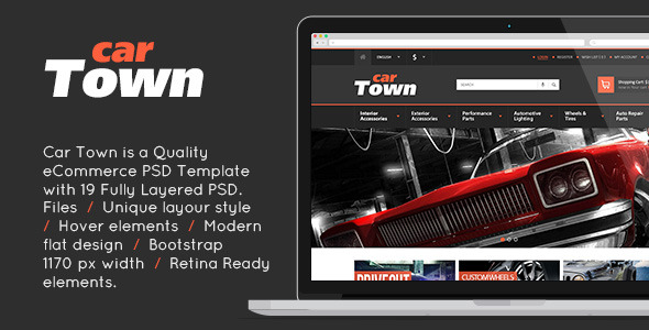 CarTown eCommerce PSD Template Design