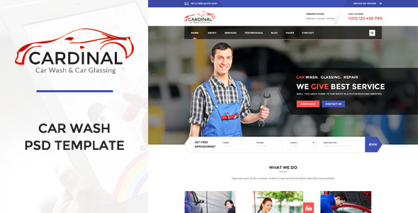 Cardinal Car Wash & Workshop PSD Template