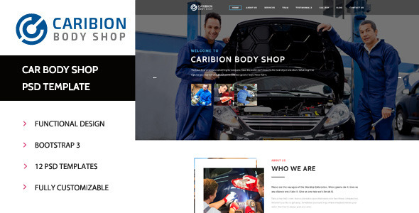 Caribion Car Mechanic & Repair Shop PSD Template