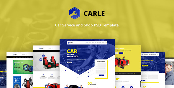 Carle Car Service and Shop PSD Template