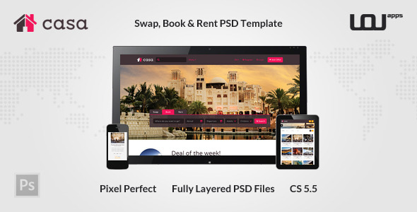 Casa Swap, Book & Rent PSD Template