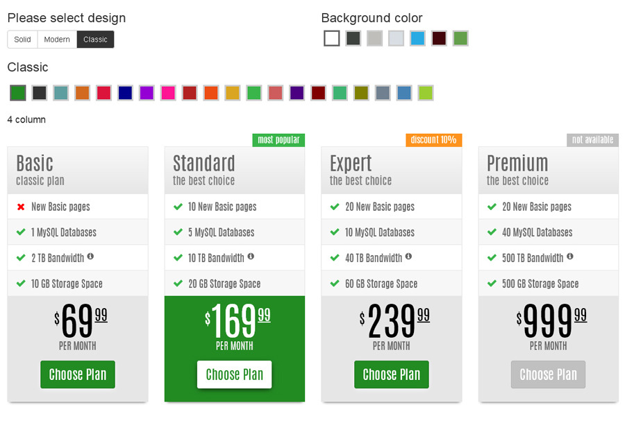 Classic Solid Modern Responsive Pricing Tables