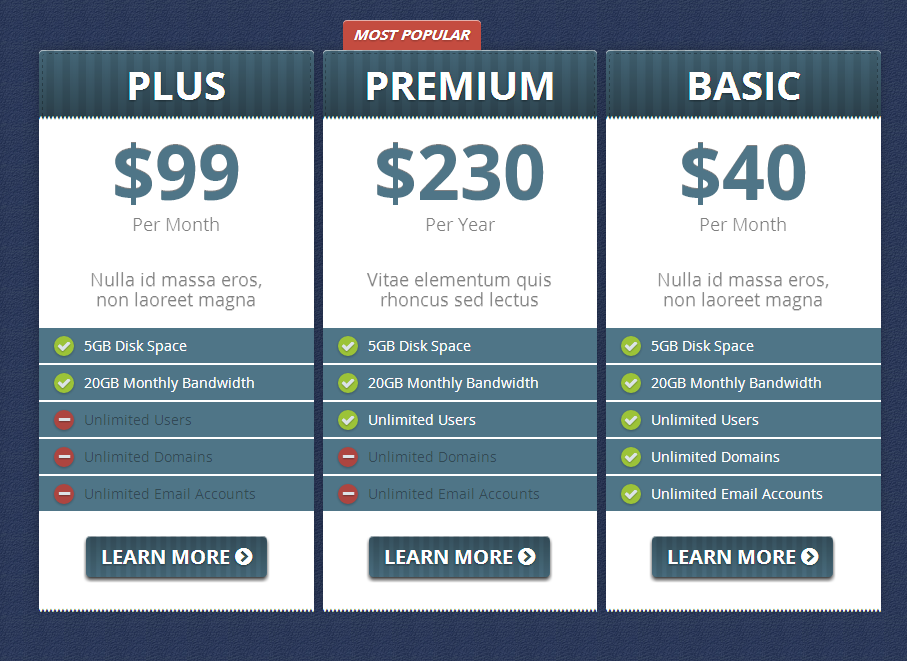 Creative Pricing Tables Responsive