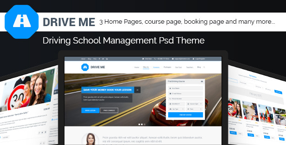Drive Me Driving School Management PSD Theme