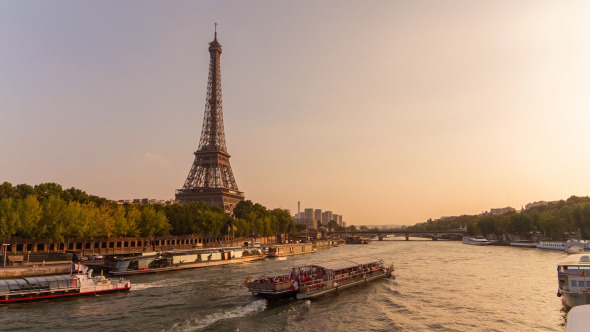 Eiffel Tower by The Seine River, Evening, Paris