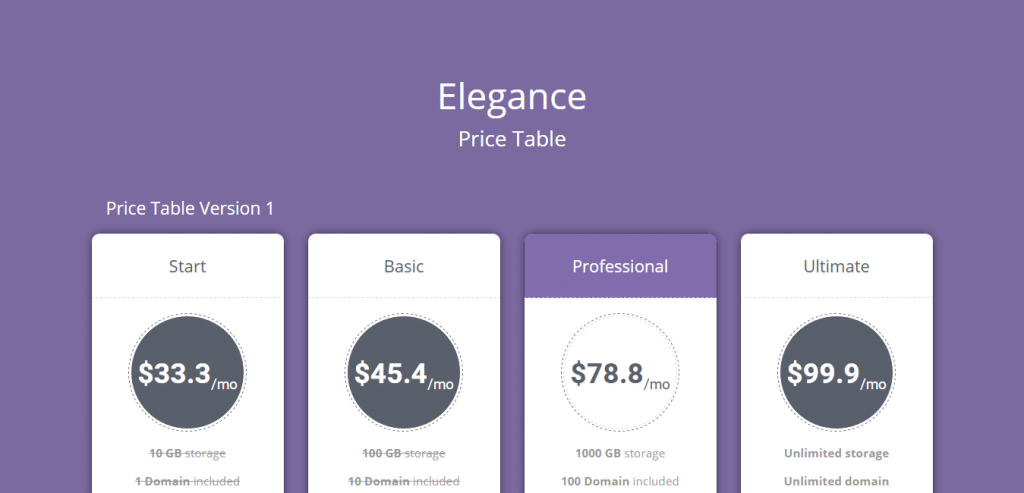 Elegance Animated Responsive Pricing Table