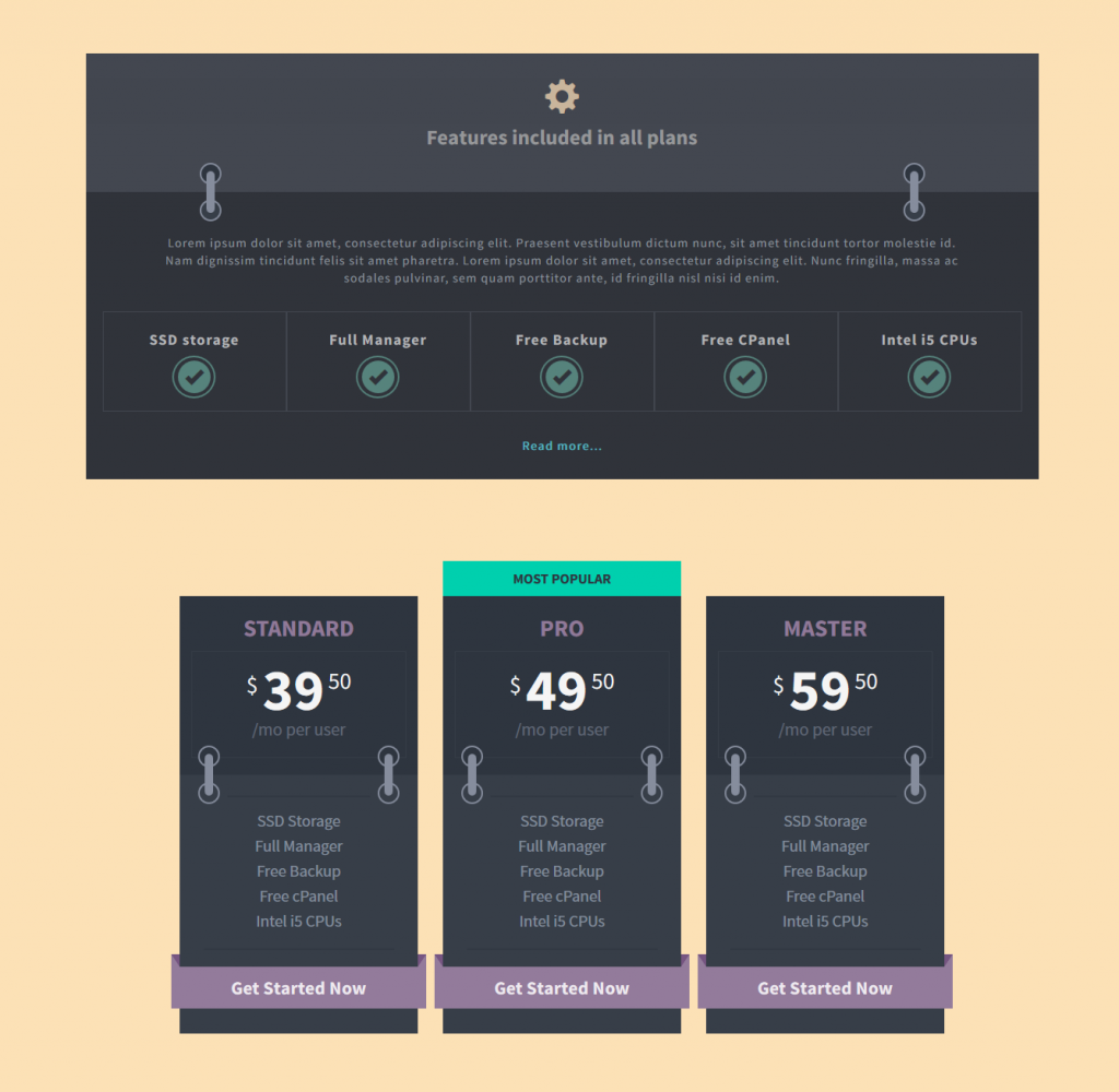 Flat Bootstrap Pricing Tables