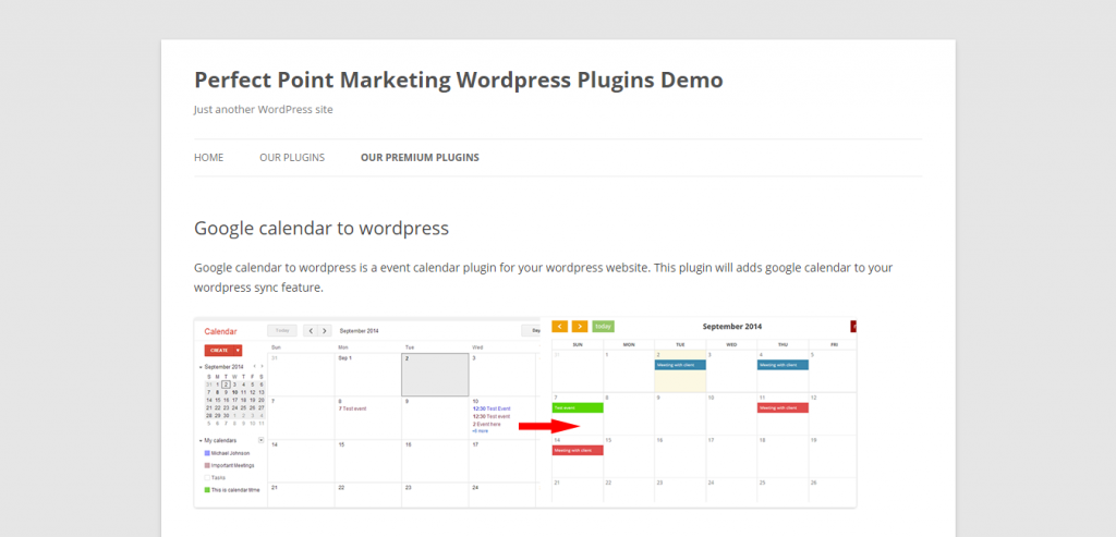 Google calendar to wordpress